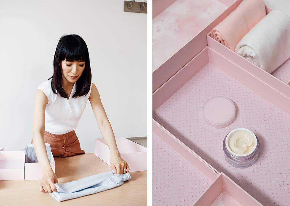 Marie Kondo recommends using small boxes for tidying up the home.