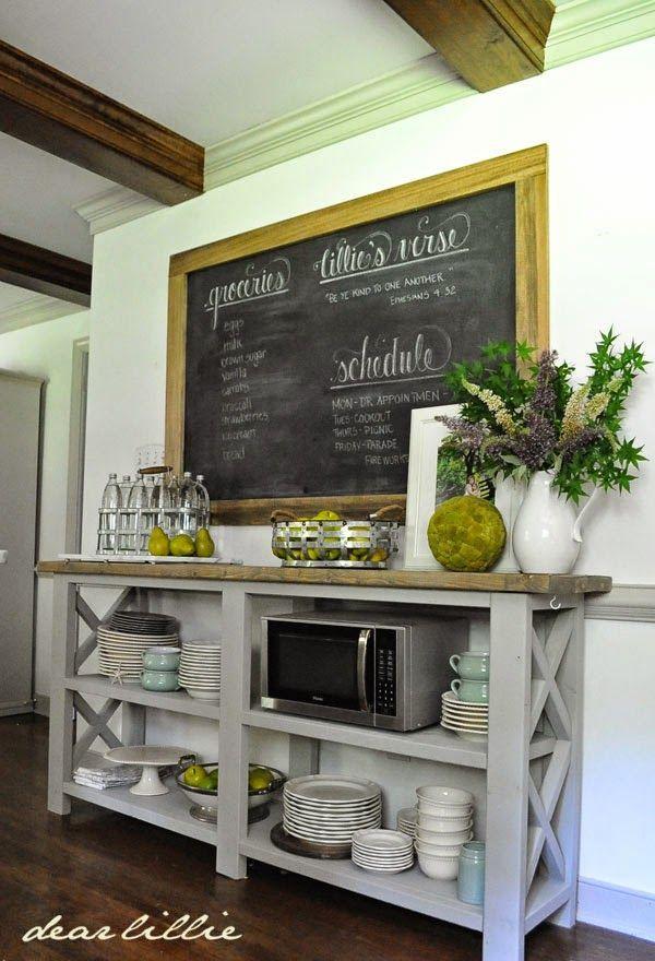 Full shelf and blackboard.