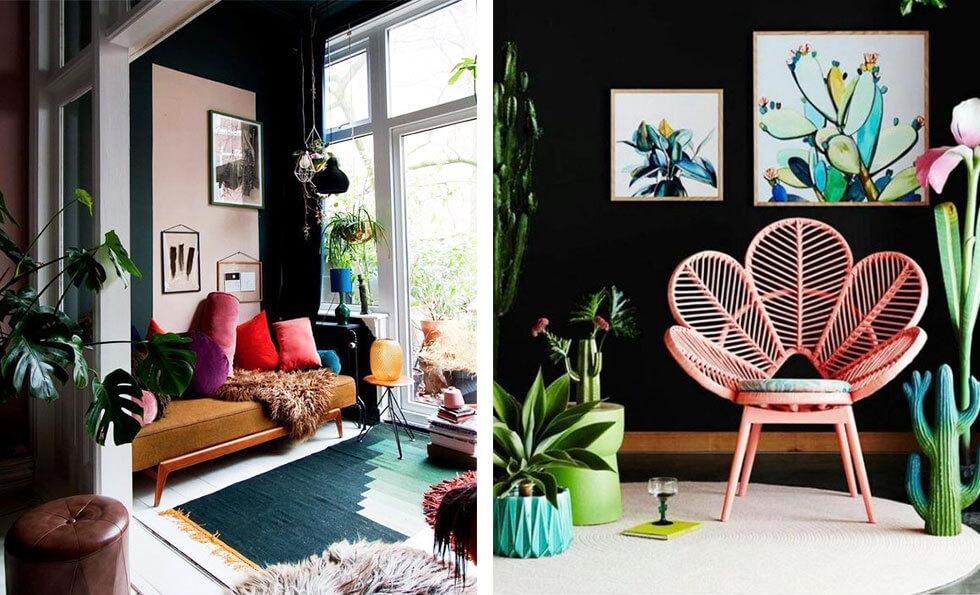 Two vibrant living rooms with fur rugs, rattan furniture and indoor plants.