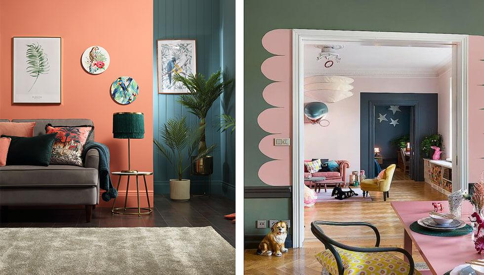 Maximalist living rooms with colour block trend