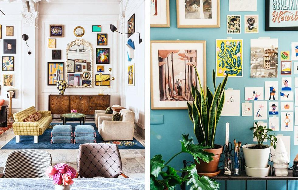 Eye-catching rooms with lots of photos and natural details.