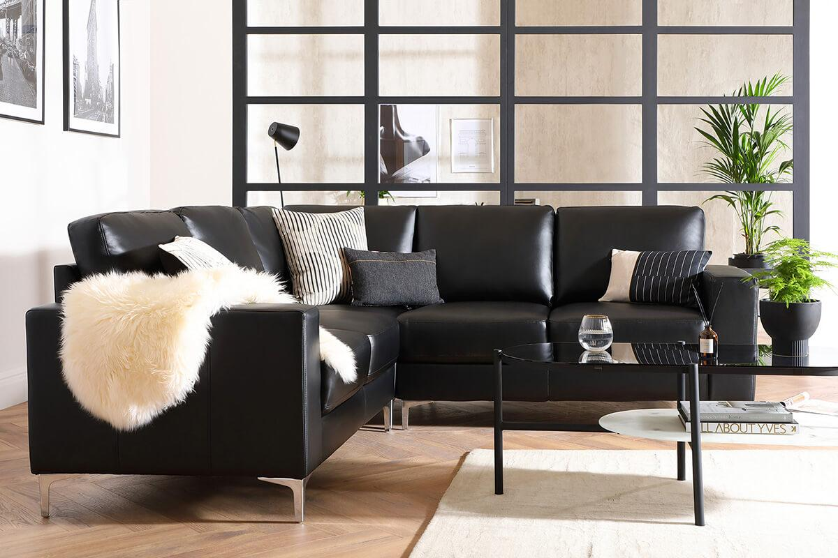Baltimore Black Leather Corner Sofa - Urban Classics