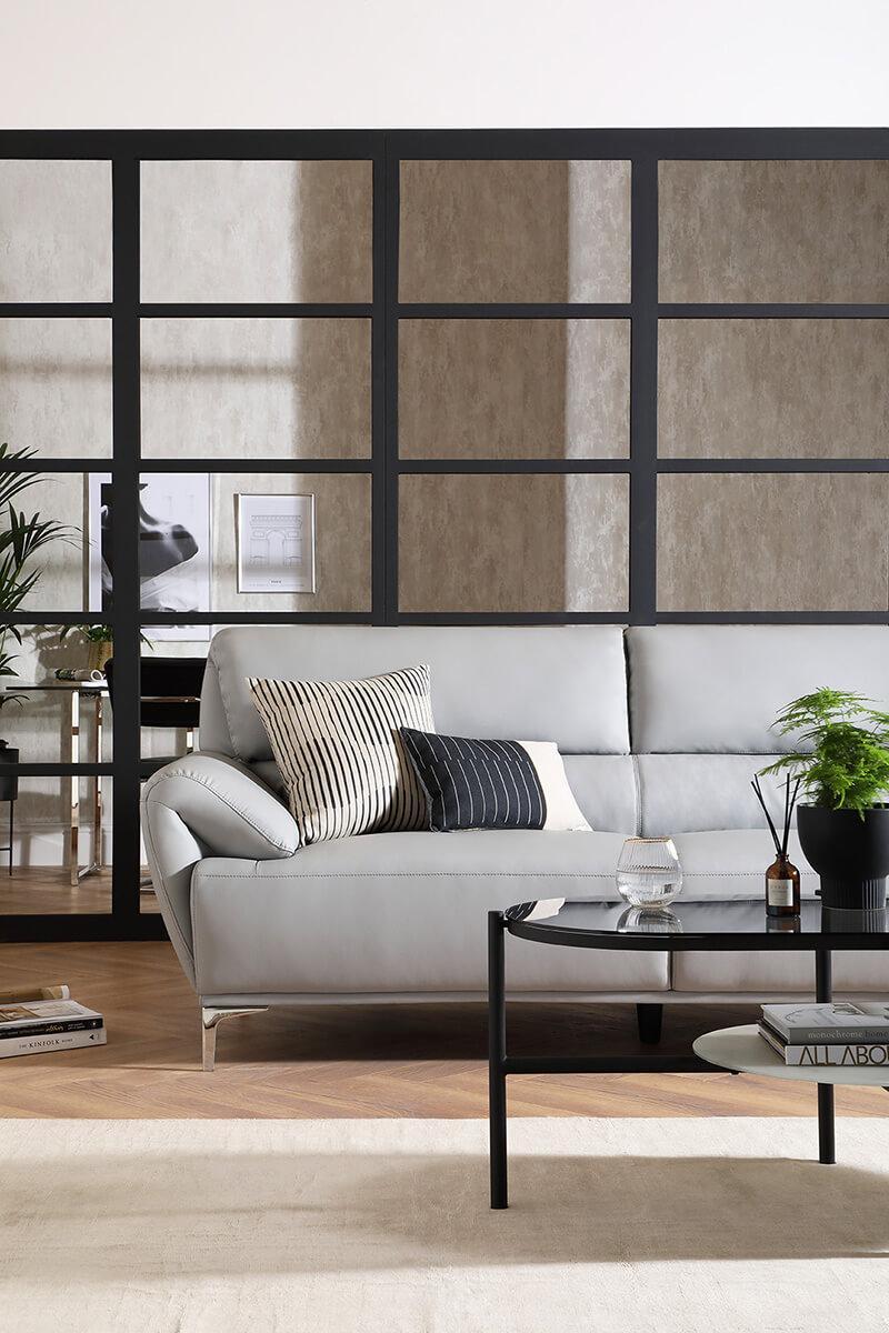 Enzo Light Grey Leather 3 Seater Sofa - Urban Classics