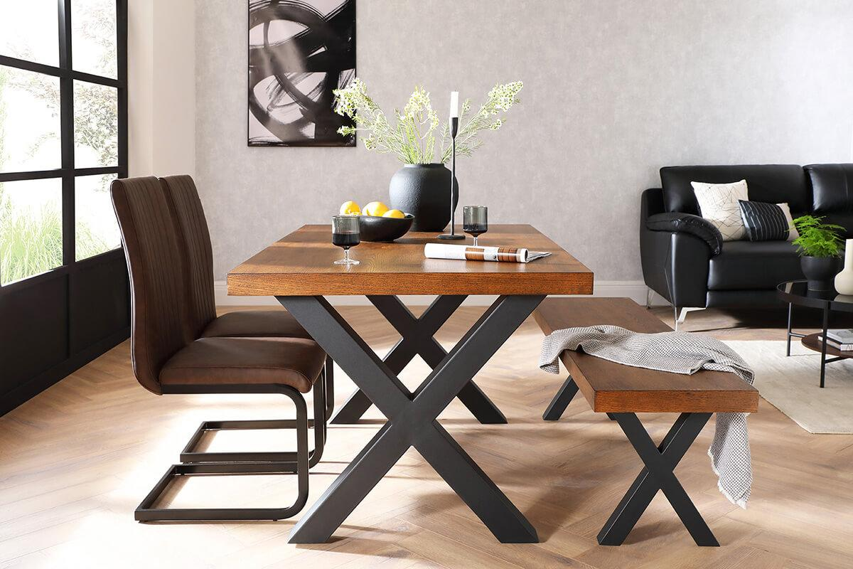 Enzo Black Leather 3 Seater Sofa and Franklin table and bench, and Perth brown leather chair - Urban Classics