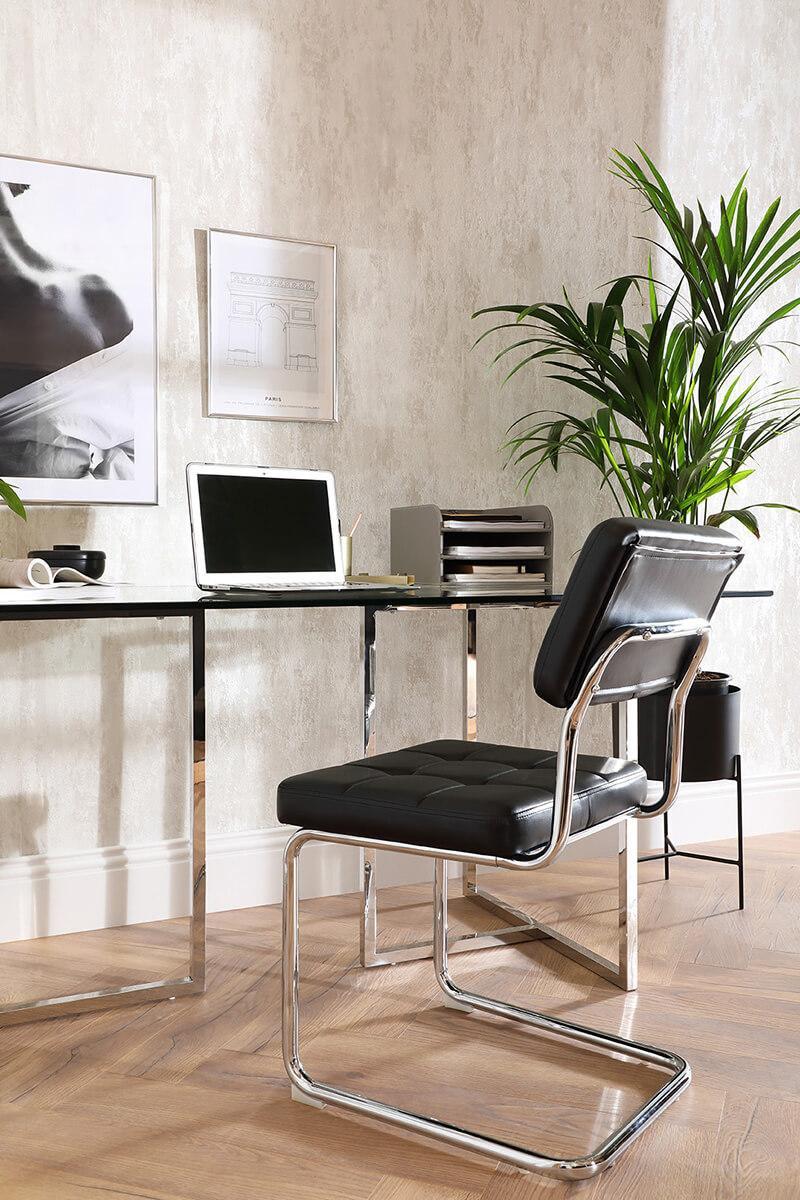 Lisbon Chrome and Glass 160cm Dining Table and Carter Black Leather Dining Chair (Chrome Leg) - Urban Classics