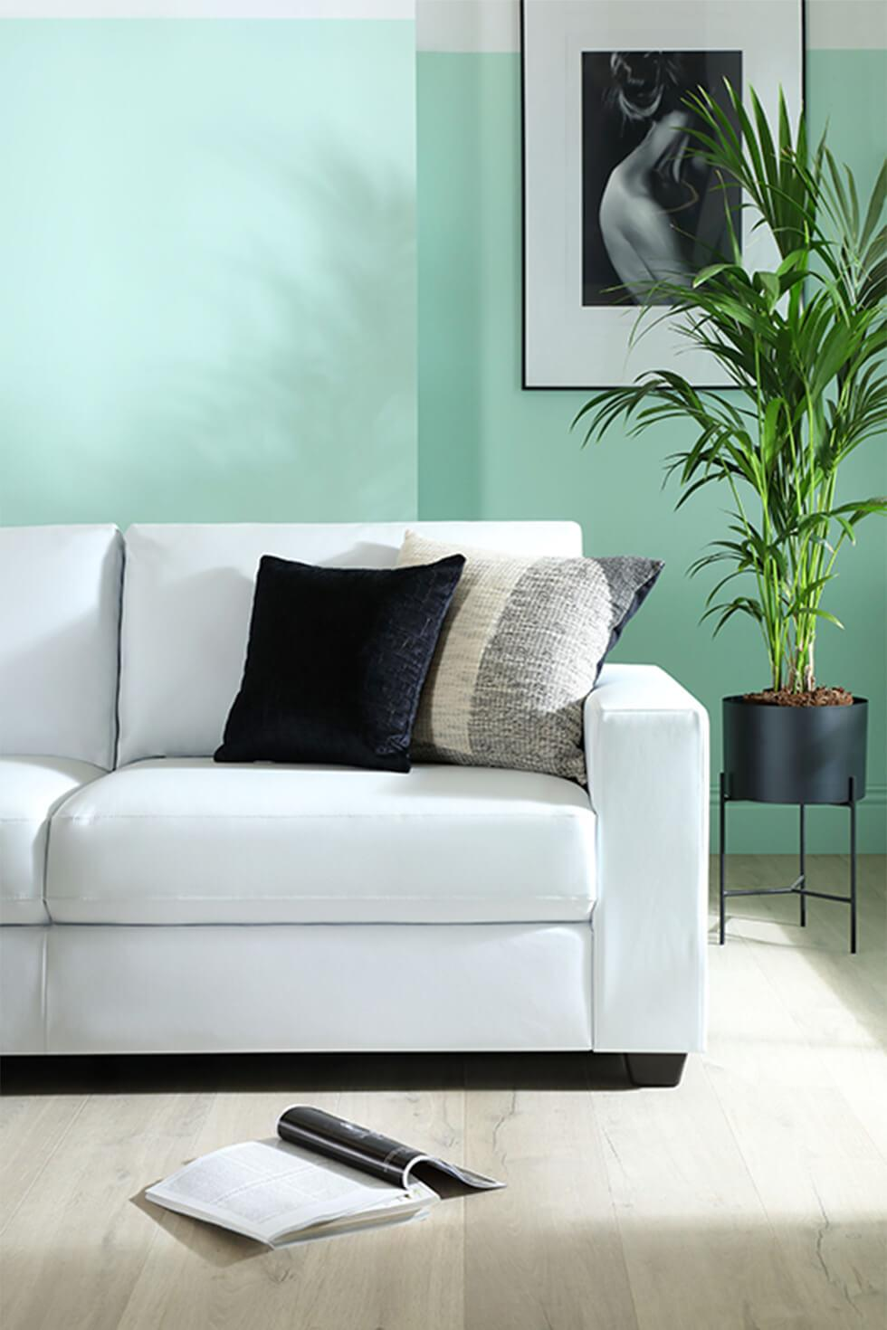 Mission White Leather 2 Seater Sofa