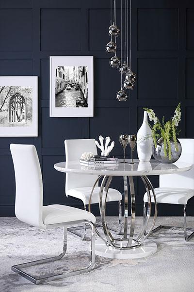 Savoy round white marble and chrome dining table with 4 perth white chairs