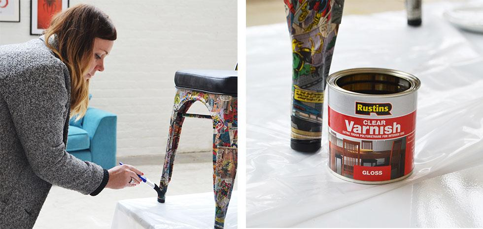 Finish off the DIY Marvel chair with a coat of clear varnish
