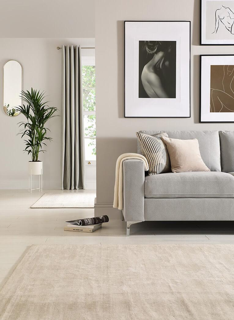 Soft grey and light neutrals create an irresistibly elegant look.